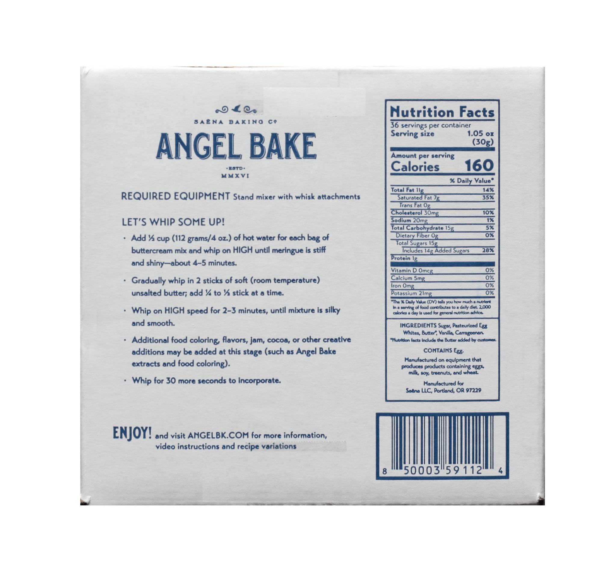 Nutrition facts Swiss Buttercream Angel Bake