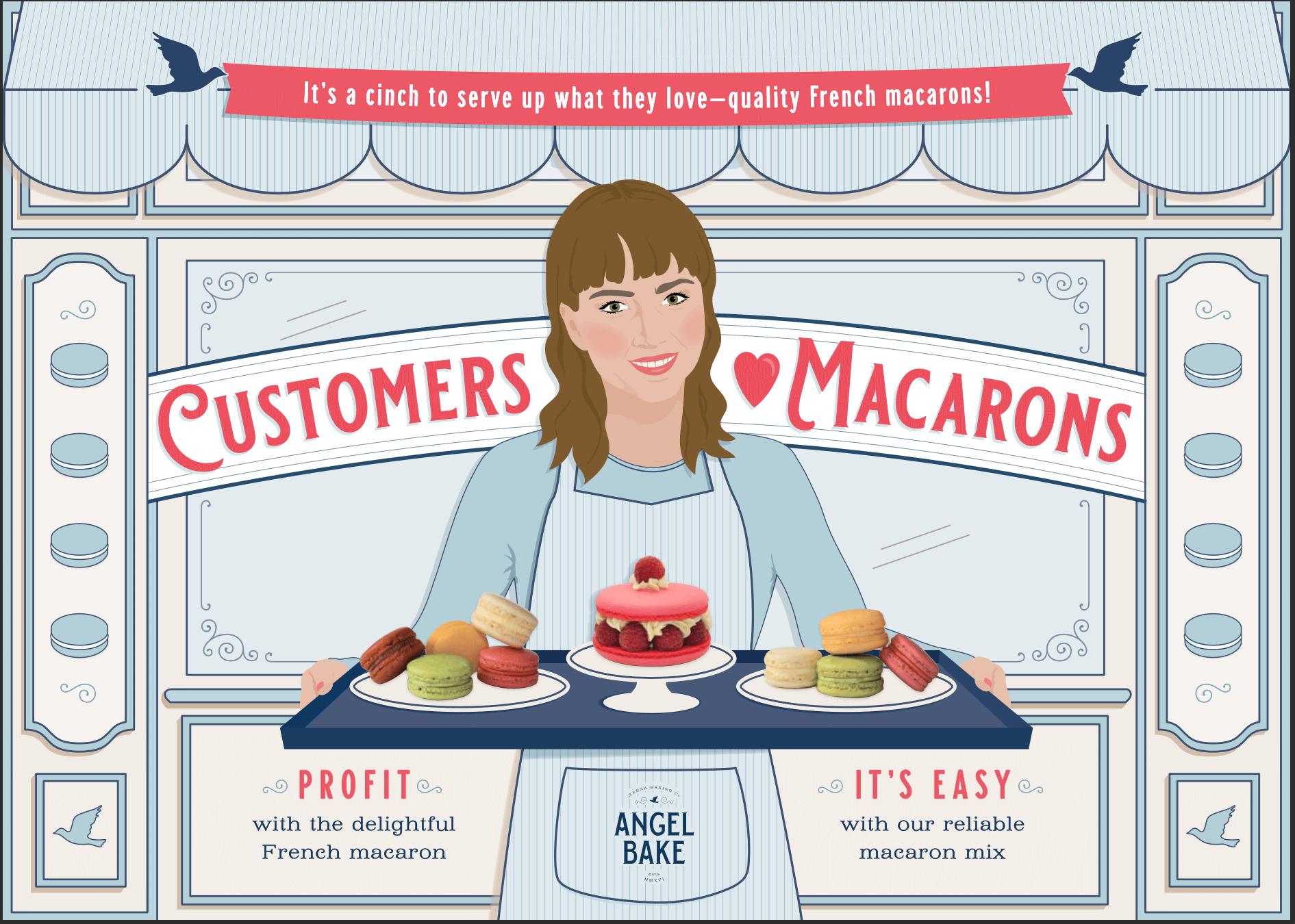 shop owner serving macarons